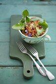 Lentil salad with dandelion leaves