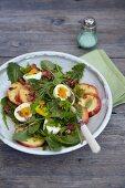 Dandelion leaf salad with apple and egg