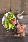 Lamb with fried green asparagus and ground elder pesto