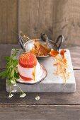 Yoghurt parfait with rhubarb and woodruff