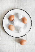 Brown eggs and white, speckled eggs on enamel plate