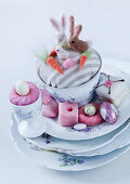 Easter arrangement of sweets and china