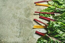 Flat-lay of fresh leaves of swiss chard with different coloured stems on a concrete stone background