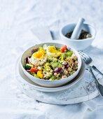 Vegetable salad with tuna and egg