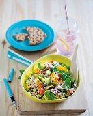 Cauliflower tabouleh and tuna