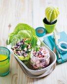 Three-legume lettuce cups