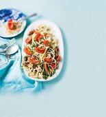 Summer spaghetti arrabbiata with tomatoes