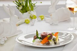 Beef fillet with asparagus and a creamy morel mushroom sauce for Easter