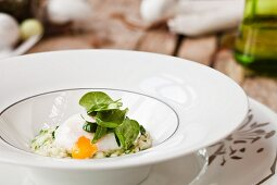 Risotto with poached egg for Easter