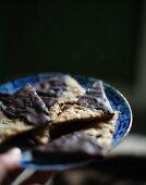 Chocolate crispbread on a plate