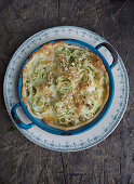 Pointed cabbage quiche with hazelnuts