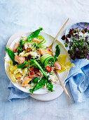 Hot smoked salmon with cauliflower fried rice salad