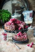 Brownie pie with raspberries