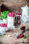 Chocolate raspberry cake, layered vertically