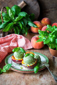 Basil ice cream with grilled peaches