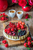 Chocolate pie with mixed berries