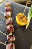 Cubes of lightly grilled tuna with ponzu sauce hors d'oeuvre