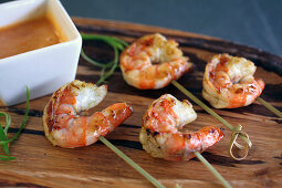 Grilled shrimp with satay dipping sauce