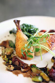 Roasted chicken with leeks, pistachios and cherries in a balsamic reduction