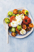 Heirloom tomato salad with mozzarella and herb oil