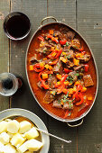 Beef chicks with pepeer and carrot in tomato sauce