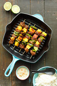 Beef skewers with pineapple and green pepper