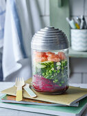 Beetroot glass noodle salad with prawns and cucumber to take away
