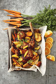 Moroccan chicken with sticky roasted vegetables