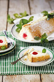 Mascarpone slices with candied cherries