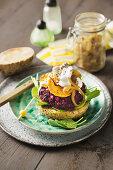 Beetroot and sweet potato burgers