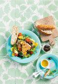 Thunfischsalat mit Bohnen, Cocktailtomaten und Oliven
