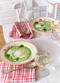 Wild garlic soup with poached egg