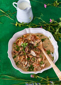 Creamy beef with chanterelle mushrooms and herbs