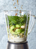 ingredients for cucumber and basil spread in a blender