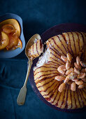 Almond and malakoff charlotte with persimmon and rose salad