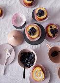 Hazelnut panna cotta roulade with blueberries