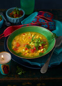 Corn soup with vegetables salsa (Mexico)