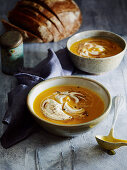 Spiced pumpkin soup with cinnamon cream