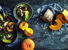 Warm chicken, labne and maple walnut salad
