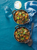 Braised lentil dhal with spinach, pumpkin and coriander (India)