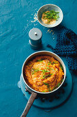 Sweet and sour lentil and mashed sweet potatoes