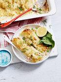 Creamy Cauliflower, Salmon and Pea Cannelloni