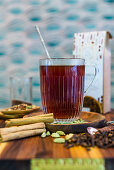 Chai rooibos tea with honey and cider