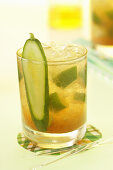 An Apple Moscow Mule with cucumber