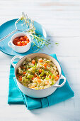 Dutch Stamppot with smoked salmon and leek