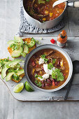 Mexican beef, tomato and bean soup