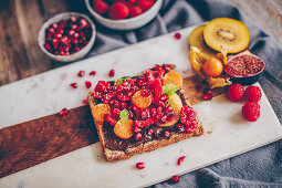 Wholemeal toast with a chocolate spread and fruit