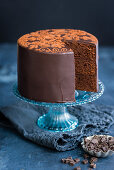 Festive chocolate cake, with a slice missing