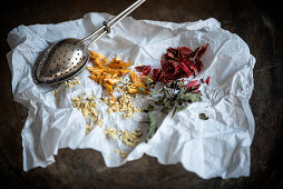 Loose leaf tea made from dried elderflowers, mint, strawberries and peach