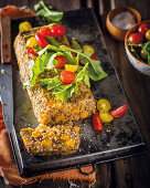 Spicy meatloaf with lentils, pumpkin and peppers (Mexico)